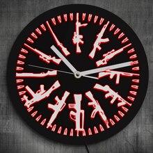 Armes à feu et balles 1 pièce   Différents armes militaires, Design moderne, signe au néon, horloge murale, changement de couleur avec télécommande