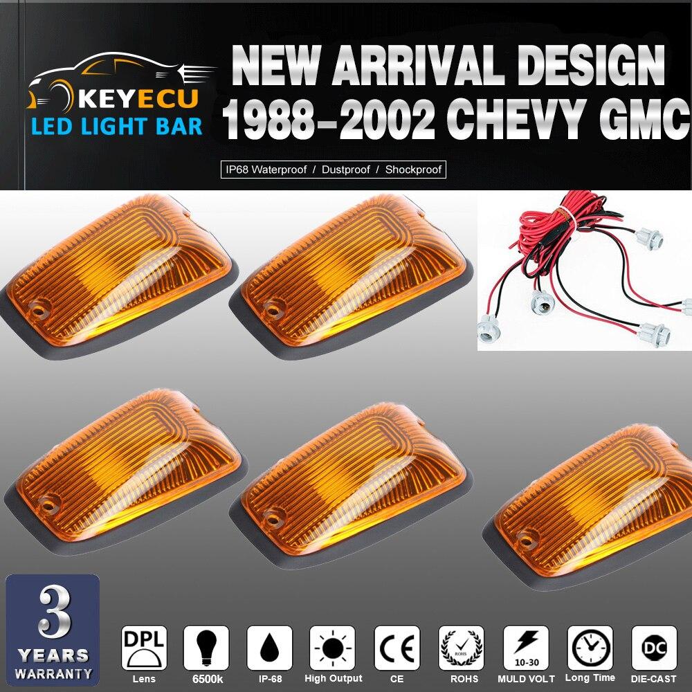 KEYECU 5 uds Cab Roof marcador corriendo cubierta ámbar claro para 1988-2002 Chevy GMC reemplazo directo para pies rápidos o techos curvos