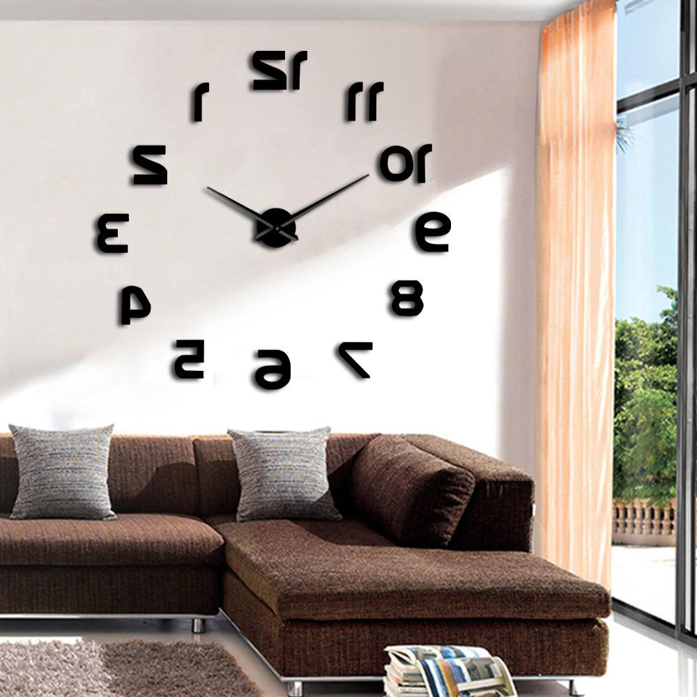 1Piece Backwards DIY Wall Clock Reverse Large Numer Wall Clock 3D Giant Mirror Sticker Huge Wall Watch Living Room Decoration