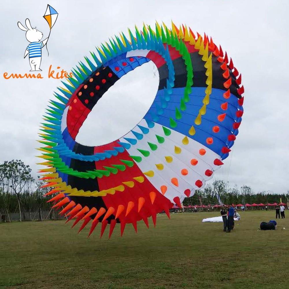 Arco Iris anillo Halo 5m BOL cometa suave con picos para la decoración del Festival de espectáculo al aire libre