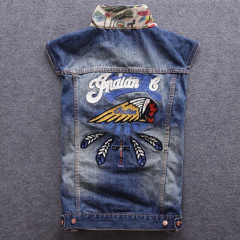 Новый модный дизайнерский мужской жилет в стиле ретро, синяя индийская вышивка, куртки без рукавов, Homme, Японская уличная одежда в стиле хип-хоп, джинсовый жилет для мужчин