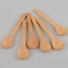 6 Pcs/lot 12cm Mini Wood Spoon Flatware Kitchen Tool Soup Dessert Coffee Stirring Ice Cream Dessert Children Spoon Tableware