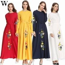 Muslim Dress Women Kaftan Islamic Dress Long Sleeve High Waist Elegant Muslim Party Dubai Maxi Dress fashion 2019 A9