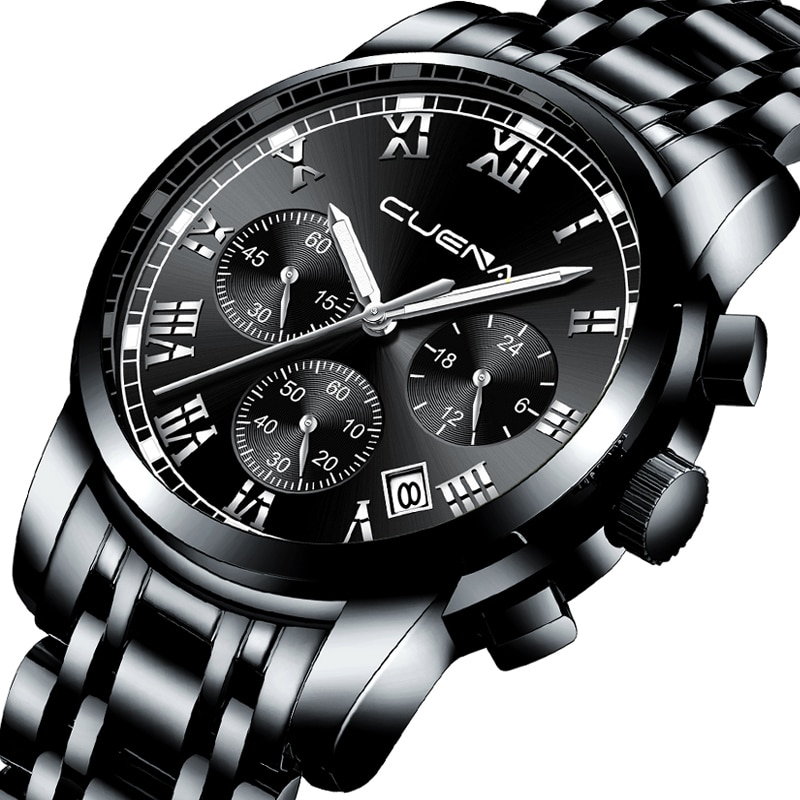 CRRJU de negocios de moda de cuarzo relojes deportivos hombres analógico cronógrafo de acero completo impermeable Relojes hombres reloj Relogio Masculino