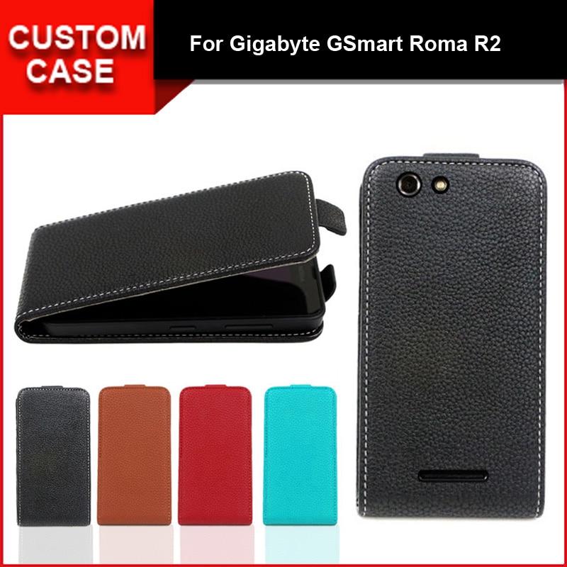Funda con tapa vertical de lujo abatible hacia arriba y abajo Funda de cuero PU para Gigabyte GSmart Roma R2, regalo gratis