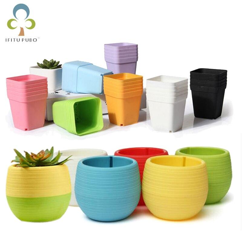 10 pçs/5 pçs vasos de flores quadrado plantadores redondos pote bandejas vasos de plástico criativo pequenos vasos para plantas suculentas jardim decoração gyh