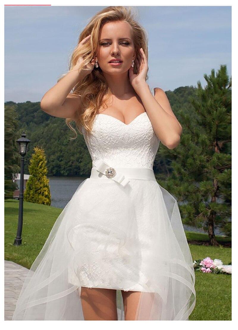 Купить с кэшбэком LORIE 2019 Princess Wedding Dress Sweetheart Detachable Train Wedding Gown Sleeveless Boho  Short Skirt Beach Bride Dress