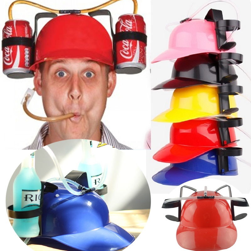 YES Beverage Helmet Beer Hat Drinking Cap Soda Miner Drinking Hat Lazy Lounged Straw Cap for Birthday Party Cool Unique Toys