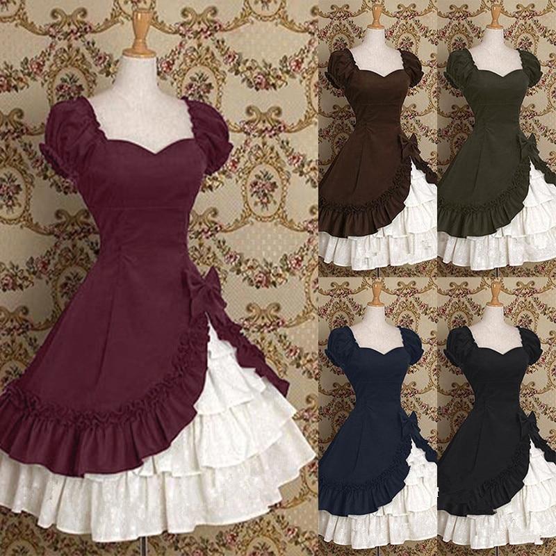 Princess Girl Dress Cinderella Halloween Victorian Gothic Lolita Dress Cosplay Costume Layered Women Party Maid Dress