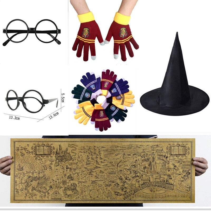 Волшебная карта мира крафт-бумага очки в стиле косплей перчатки для колледжа Gryffindor сенсорный экран ожерелье волшебника