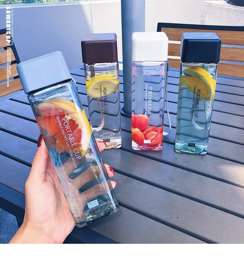 Cute New Square Tea Milk Fruit Water Cup 500ml for Water Bottles drink with Rope Transparent Sport K