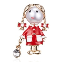 Rinhoo Small Cute Girl Brooches for Women Opal and Rhinestone Brooch Pin Silver Color Dress Coat Accessories Fashion Gift