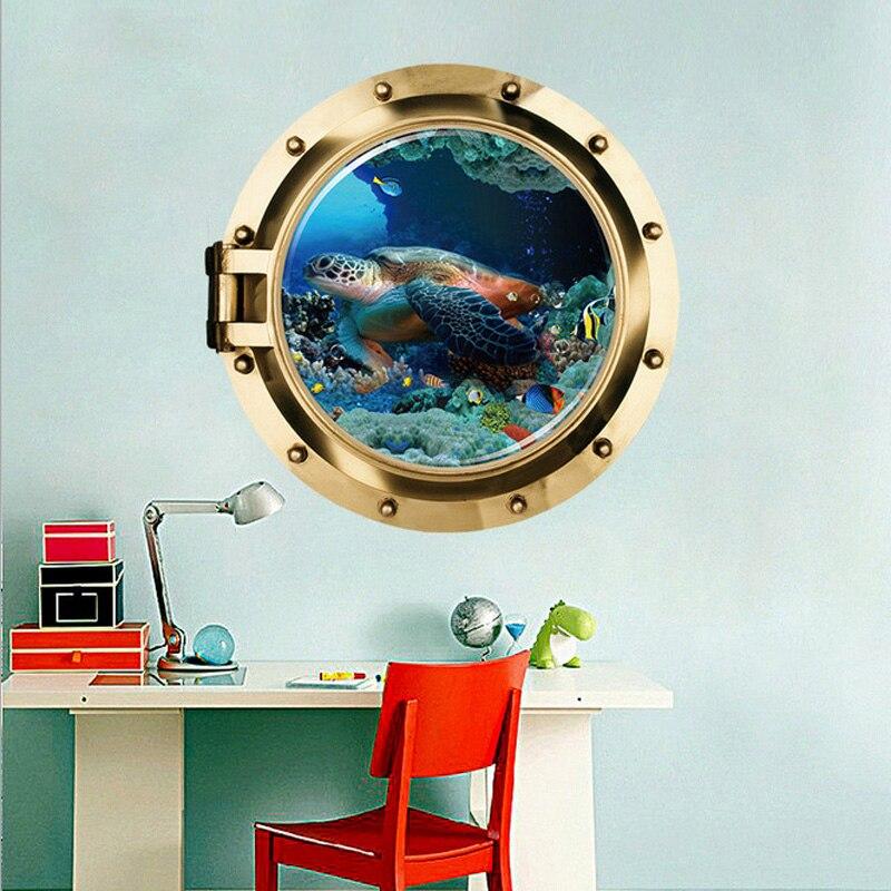 Купить с кэшбэком 3D Submarine Fake window seabed animal wall stickers kids rooms living room bedroom home decoration decals mural poster sticker
