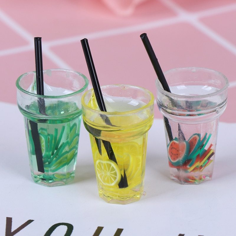 Bebida de simulación de limón y fruta a escala 112 de resina caliente para juguete en miniatura para casa de muñecas, té de la leche, muñeco que bebe comida, accesorios de cocina