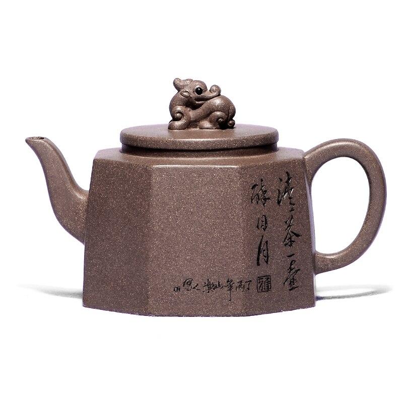 إبريق شاي من الطين الأرجواني yixing ، 280 مللي ، جميع الاتجاهات ، نقي ، تصميم عتيق وعتيق من الطين ، صناعة يدوية ، عرض ، شحن مجاني