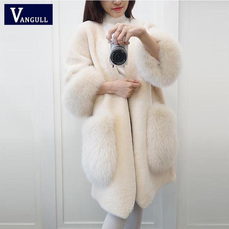 Vangull, abrigo de piel sintética elegante rosa para mujer, Otoño Invierno 2019, grueso, cálido, chaqueta de lana suave, abrigo de bolsillo, abrigo de piel de zorro con cuello en V