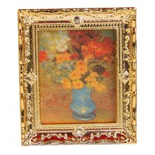 1:12 or cadre en plastique fleur huile peintres Miniature maison de poupée meubles