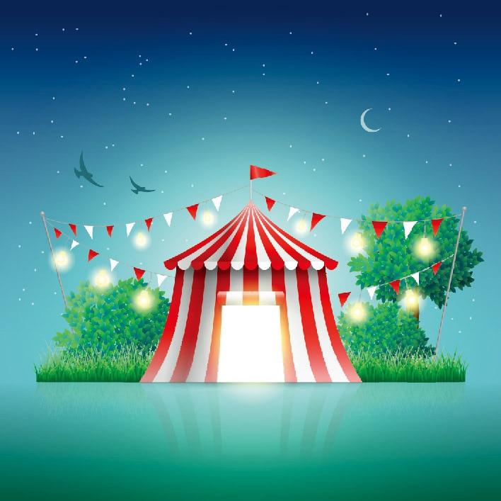 8x8FT Carnival Circus Funfair Pennants Flags Tent Starry Sky Moon Custom Photo Studio Backgrounds Backdrop Vinyl 240cm x 240cm