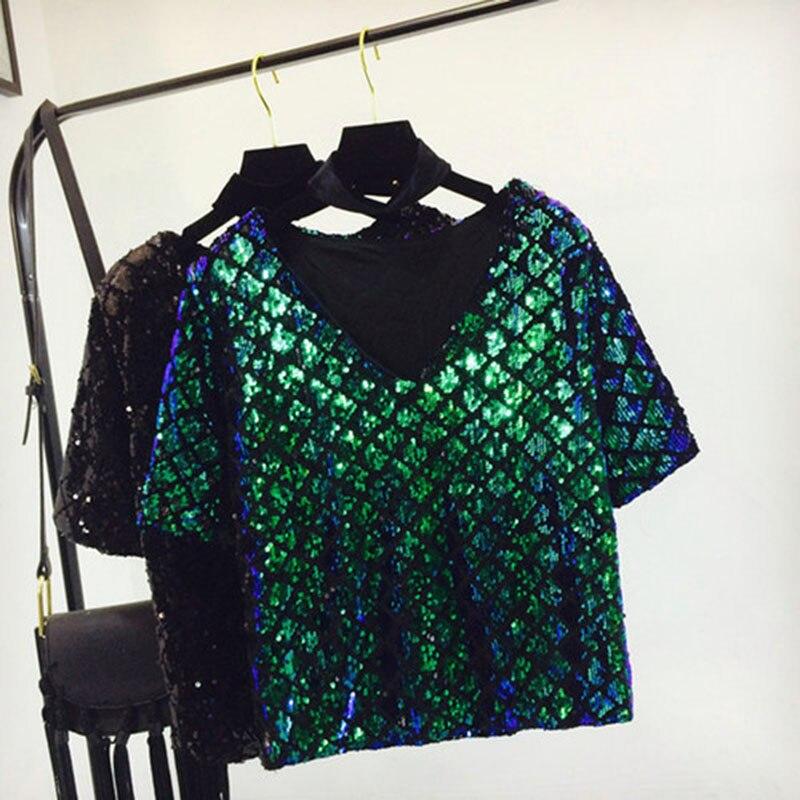 Summer sequins T-shirt  loose thin V-neck Beading shirt short-sleeved Lingge bottoming shirts Sequined Tees streetwear Tops 2018