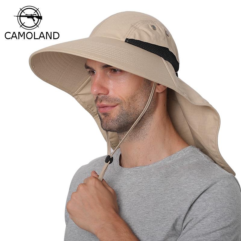 Summer Sun Hat Men Women Cotton Boonie Hat with Neck Flap Outdoor UV Protection Large Wide Brim Hiking Fishing Safari Bucket Hat