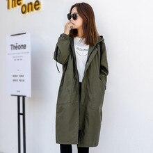2020 nouveau printemps automne longue Trench manteaux femmes lâche grande taille décontracté à capuche coréen coupe-vent femmes pardessus V742