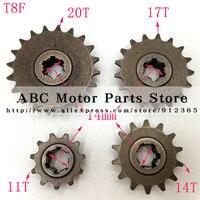 Звездочка T8F 11 14 17 20 T, зубчатая шестерня для 47cc 49cc Minimoto Mini Dirt Pit Bike, Мопед, скутер