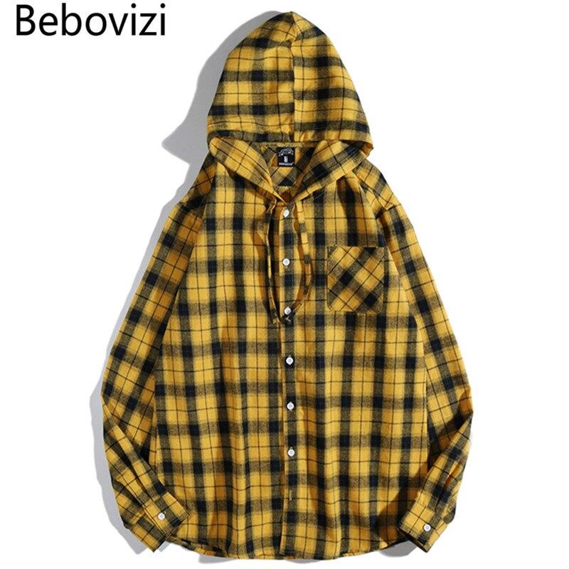 Marca Bebovizi, ropa de calle informal, Camisa a cuadros amarilla, sudadera Hip Hop para hombres, Camisa de manga larga de algodón para hombres, ropa Masculina