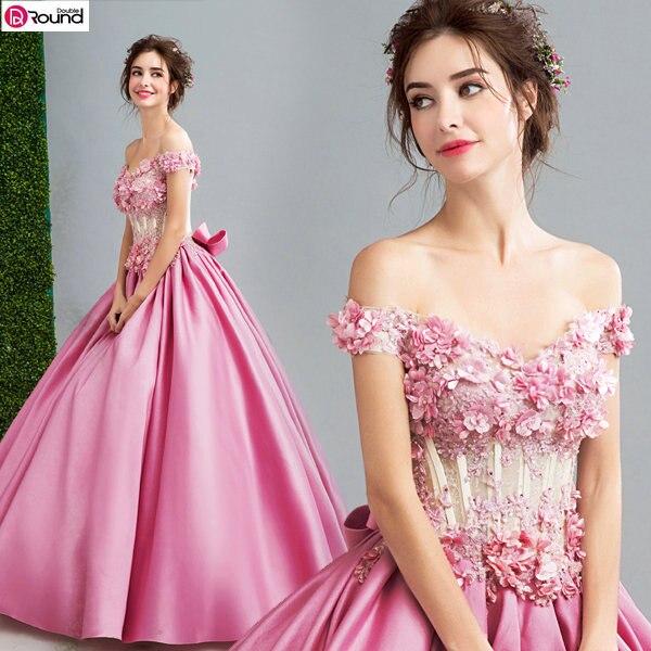 ¡Novedad de 2019! VESTIDOS DE Quinceañera Rosa decorados con lazo con hombros descubiertos Popin, vestido de novia único y enagua suelto 790