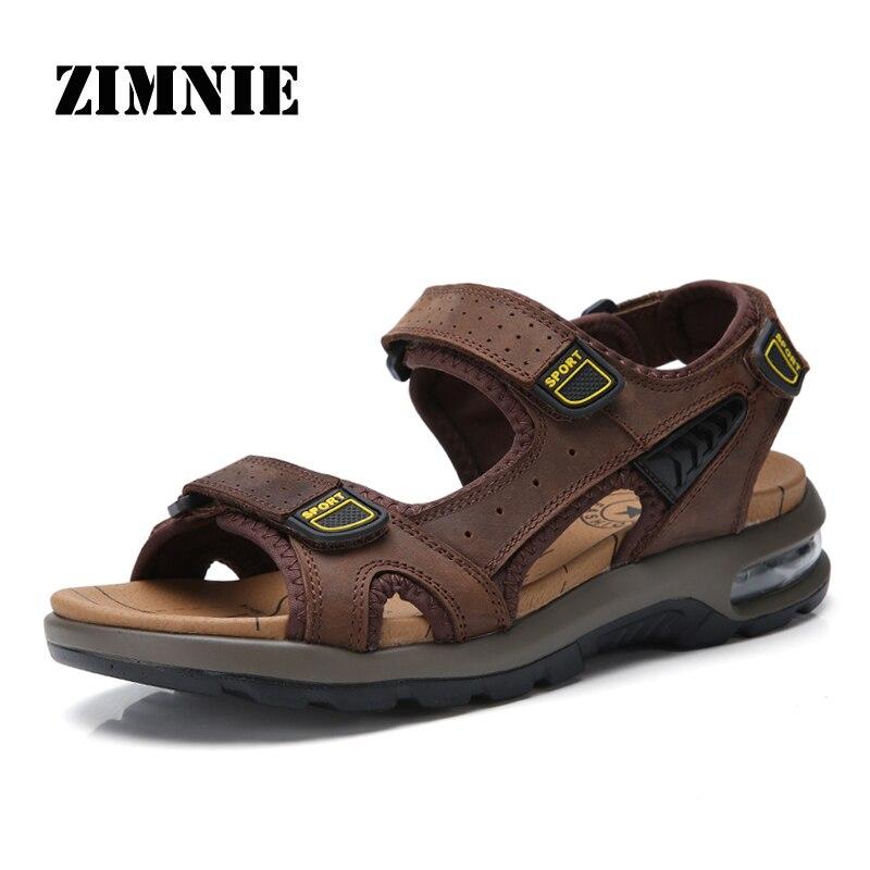 زيمي-صندل من جلد البقر الأصلي للرجال ، أحذية صيفية تسمح بمرور الهواء ، مصنوعة يدويًا ، كلاسيكية ، غير رسمية ، ناعمة