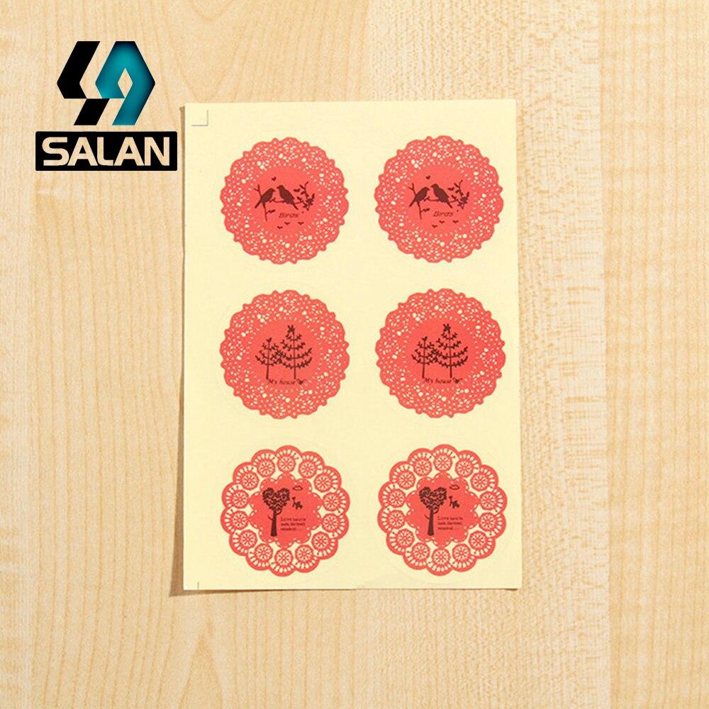 Calcomanías transparentes rosadas de encaje con encaje calcomanías decorativas para hornear D138 sellado envío gratis