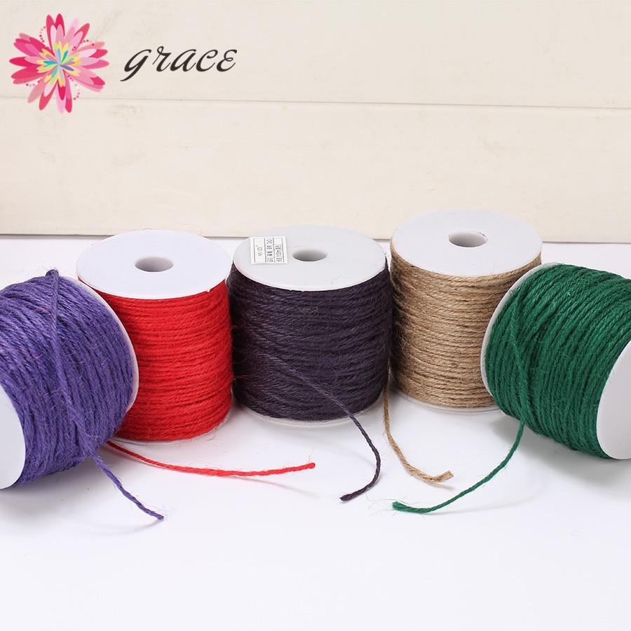 100y/lot 2mm colorido natural juta corda de cânhamo corda fio de corda de miçangas fio para diy colar jóias fazendo artesanato decoração