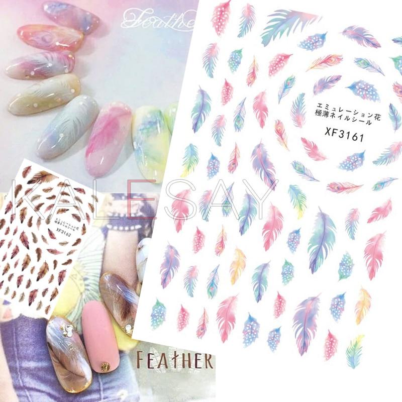 Pegatina de uñas Dream FEAM en decoración de uñas, pegatinas 3D para manicura, pegamento adhesivo para parte trasera, diseño de plumas, envoltorios adhesivos para uñas
