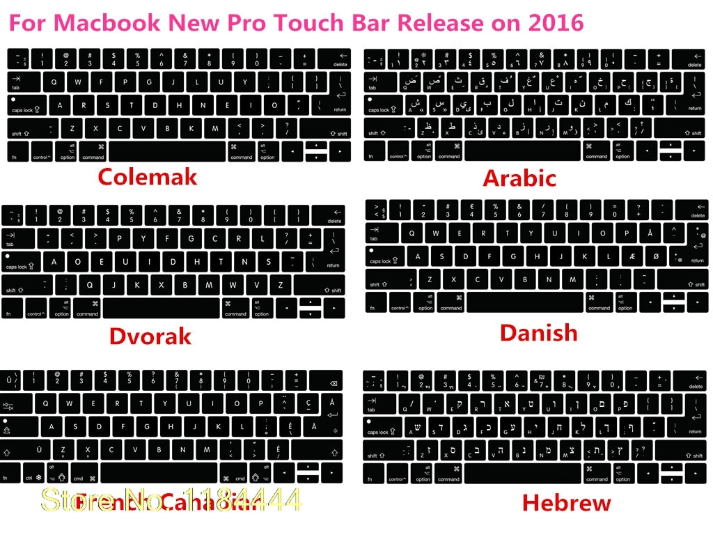 """Силиконовый чехол для клавиатуры US/EU Colemak Dvorak, французский иврит, кожа для Macbook 2017, новый Pro 13 """"A1706 15"""" A1707 с сенсорной панелью"""