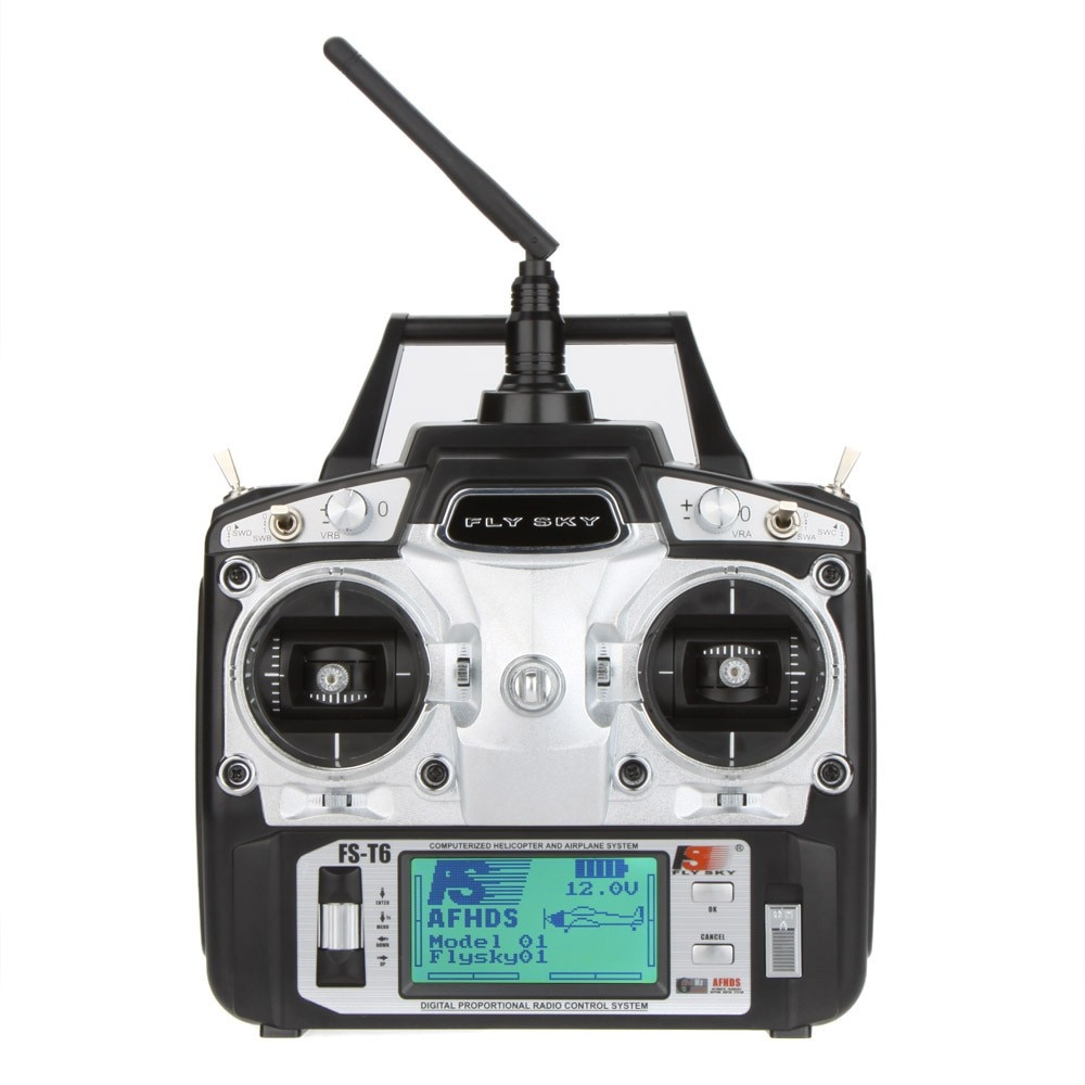 Hot Original Flysky FS-T6 2.4GHz 6CH Mode 2 nadajnik i odbiornik R6-B do zdalnie sterowany quadcopter helikoptery z ekranem LED F14912/3