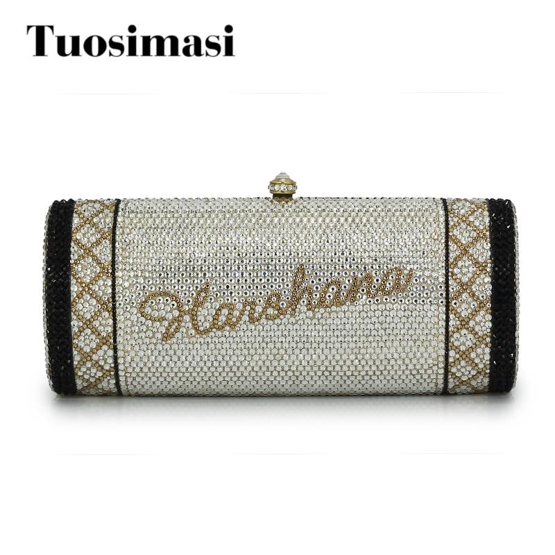 Bolso bandolera de cristal con nombre personalizado, bolso de mano de noche para mujer, bolsa de regalo de fiesta de boda (1000BG)