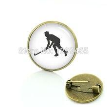 Exercice hockey athlète broches robe accessoires hockey sur gazon épingle sport silhouette Art image badge C 927