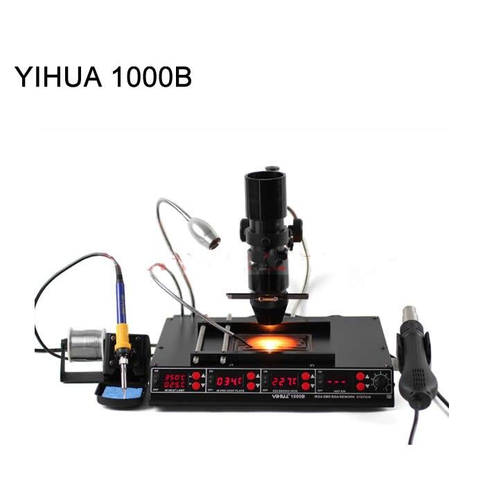 3 в 1 Инфракрасная паяльная станция Bga SMD пистолет горячего воздуха + 75 Вт паяльники + 540 Вт станция предварительного нагрева YIHUA 1000B