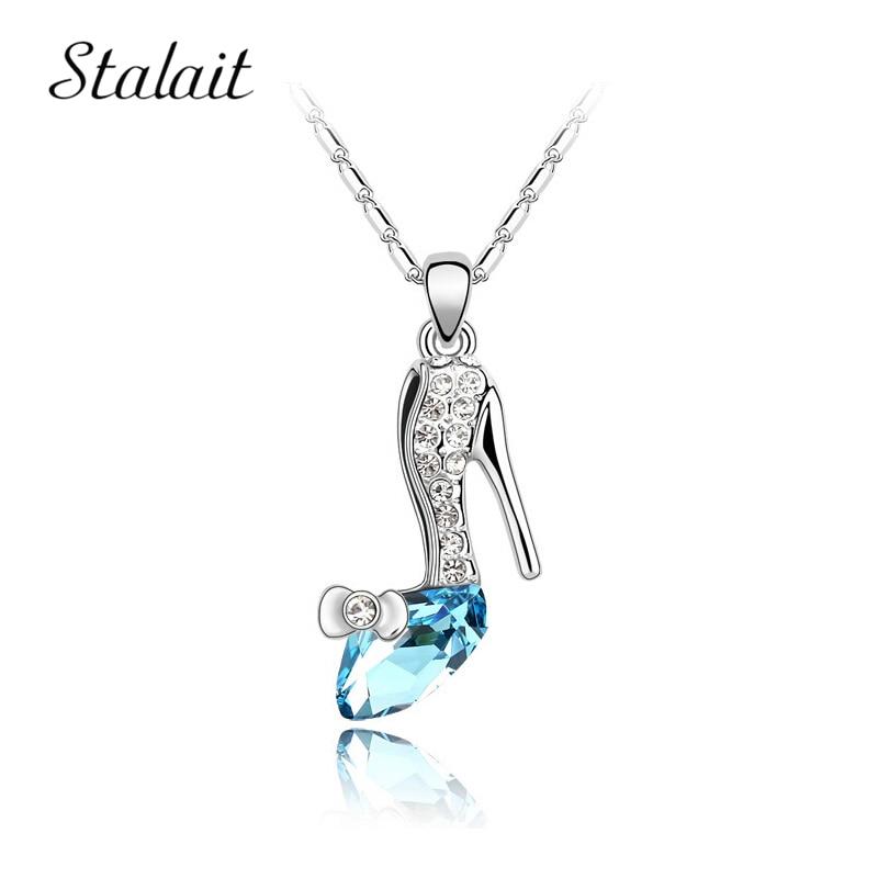 Collar de cristal austriaco joyería para chica zapatos de tacón alto colgante collares y accesorios para mujeres