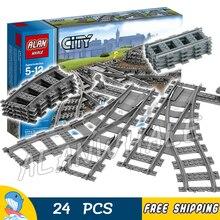 Trains de ville voies flexibles et ensemble de voies de commutation Rails droits et incurvés modèle blocs de construction Kit jouets compatibles avec Lago