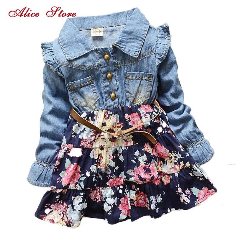 Niñas Polka Dot vestido de princesa de dibujos animados Denim vestido floral vestidos de verano de encaje flores de manga larga niños envío gratis