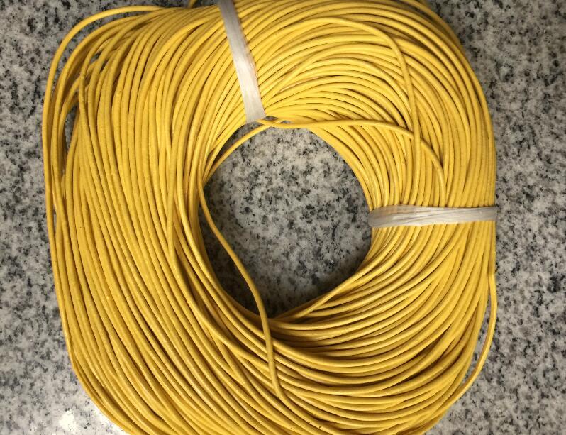 سلك دائري من الجلد الطبيعي الأصفر 2 مللي متر ، 100 متر ، سلك دائري ، للسوار ، تصميم المجوهرات