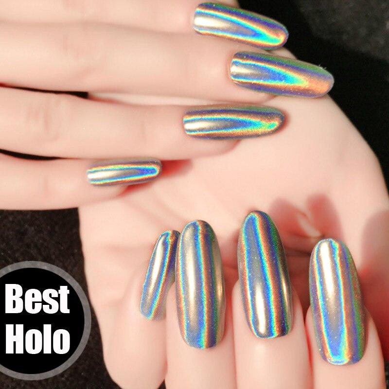 1 Uds polvo holográfico láser polvo de espejo cromado Rainbow Glitter UV Gel Polish polvo lentejuelas polvo uñas unicornio polvo