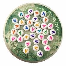 Venta al por mayor 4*7MM joyería redonda cuentas de las letras del alfabeto 3600 unids/lote DIY joyería hallazgos adorno accesorio plástico inicial V cuentas