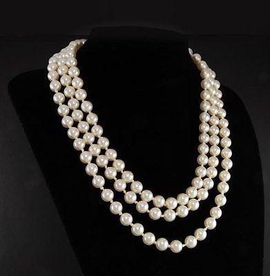 "Frete SHIPPINGJacqueline Kennedy primeira dama triplo Strand branco Faux pérola colar 17 - 19 """
