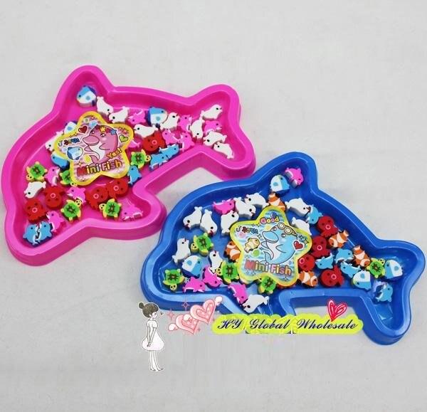 40 pçs/set novo animal marinho borracha com caixa de presente mini peixe borracha escritório & estudo dos desenhos animados de borracha crianças presentes