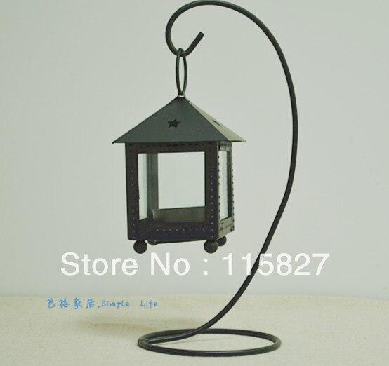 Candelero de Metal negro, candelero de hierro, candelero de estilo clásico con colgador, decoración de la casa, decoración de la boda