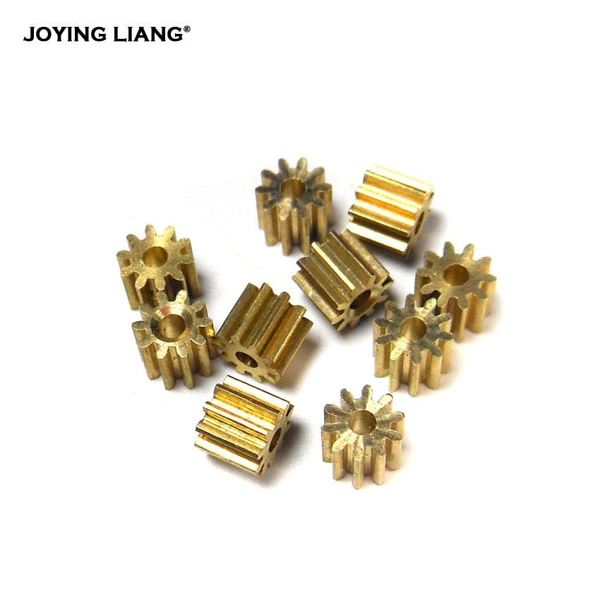 Engranaje de Metal 102A/101,5a, 0,4 M, 10 orificios para los dientes, 2mm/1,5mm, engranaje de módulo pequeño, Piñón de cobre, 10 unids/lote