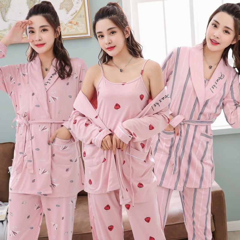 3PCS Sexy Cotton Pajama Sets for Women 2019 Spring Autumn Long Sleeve Robes Solf Sleepwear Homewear Pijama Mujer Three Piece Set