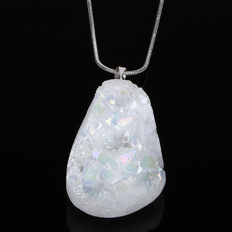 Shinygem moda natural colar de cristal multi cor natural druzy pedra pingente colares de quartzo irregular para mulher