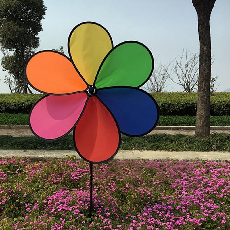 Molino de viento colorido, Flor del arco iris, Spinner, molino para jardín, decoración exterior